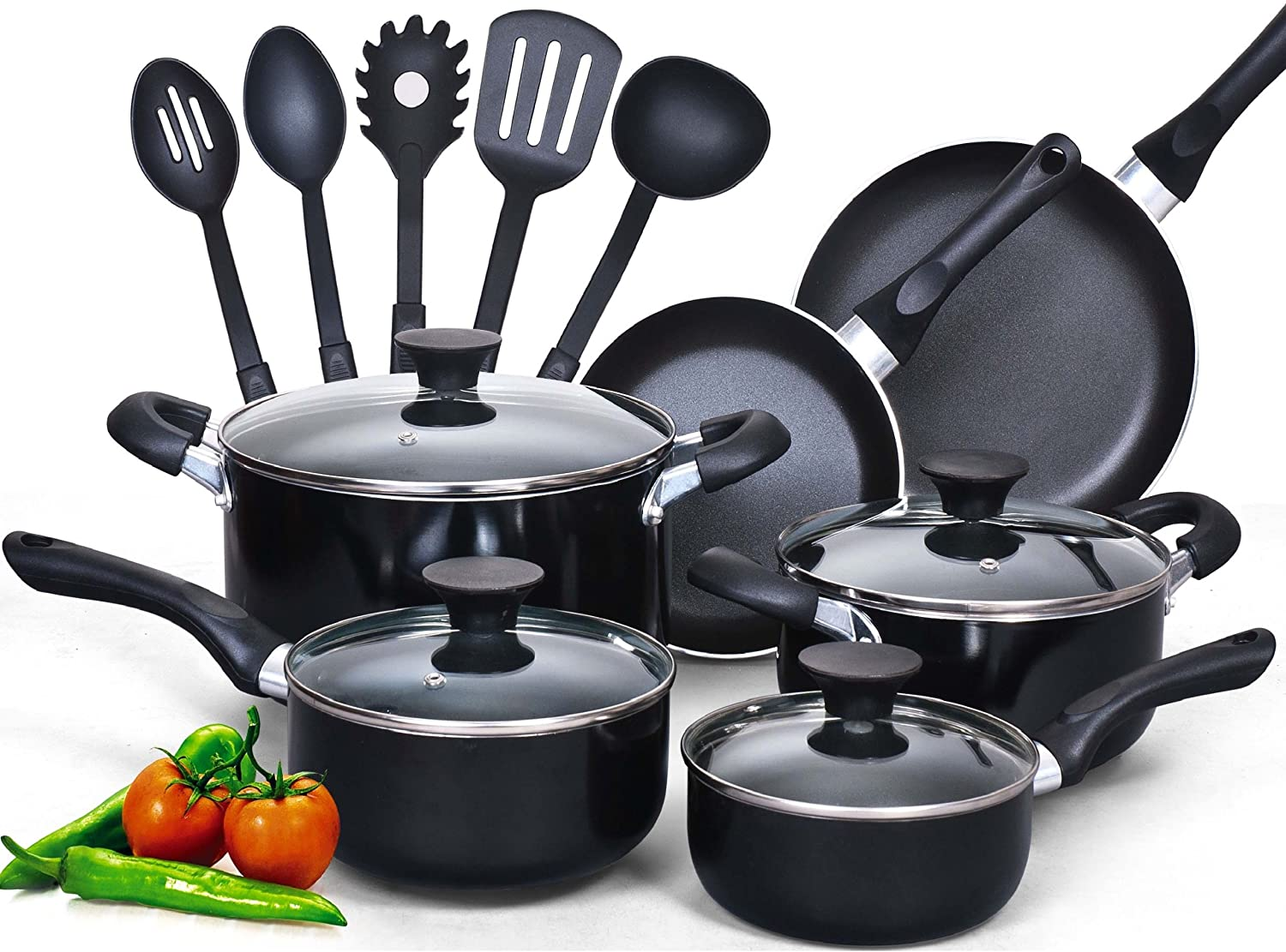 Cook N Home 15-Piece Nonstick Stay Cool Handle Cookware Set, Black