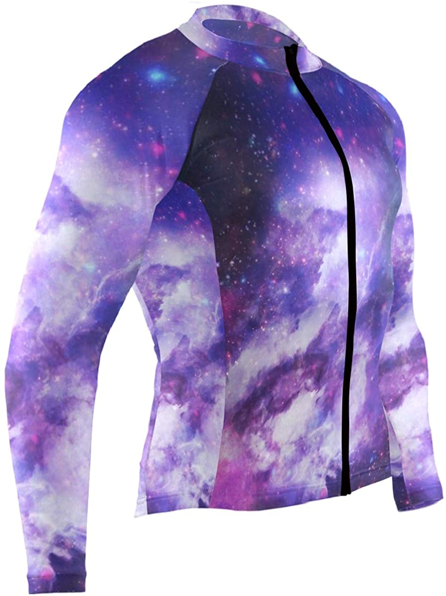 SLHFPX Space Galaxy Mens Cycling Jersey Top Full Sleeve Outdoor Bike Clothing Outfit