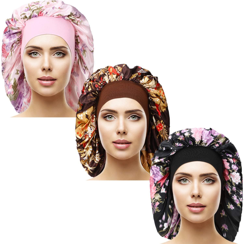 3 Pieces Satin Sleep Cap Elastic Wide Band Hat Night Sleeping Headwear for Sleeping Supplies
