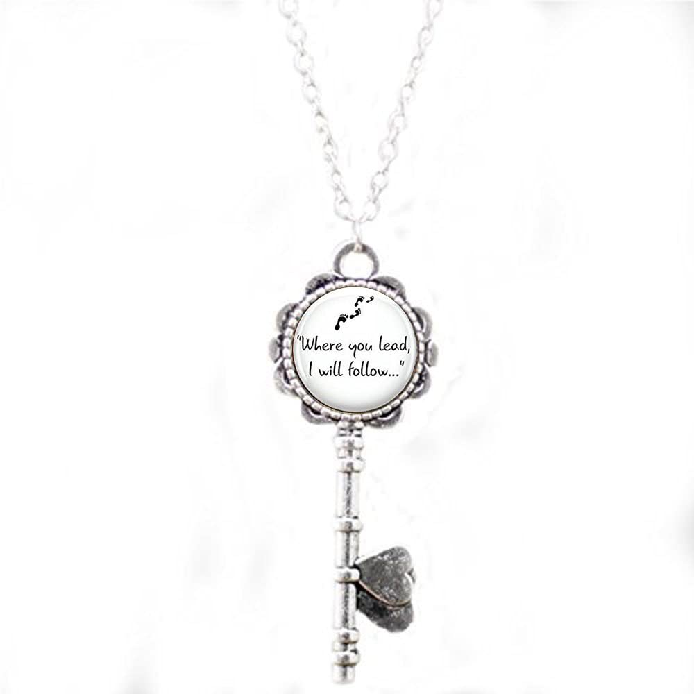 Gilmore Girls Where you lead. Pendant Keychain necklace