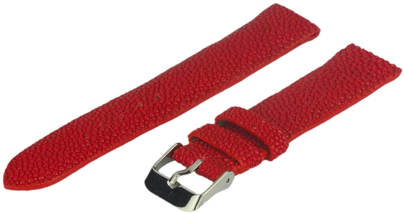 Stingray Watch Band, 24 mm, Genuine Stingray Leather, Red, Regular Length