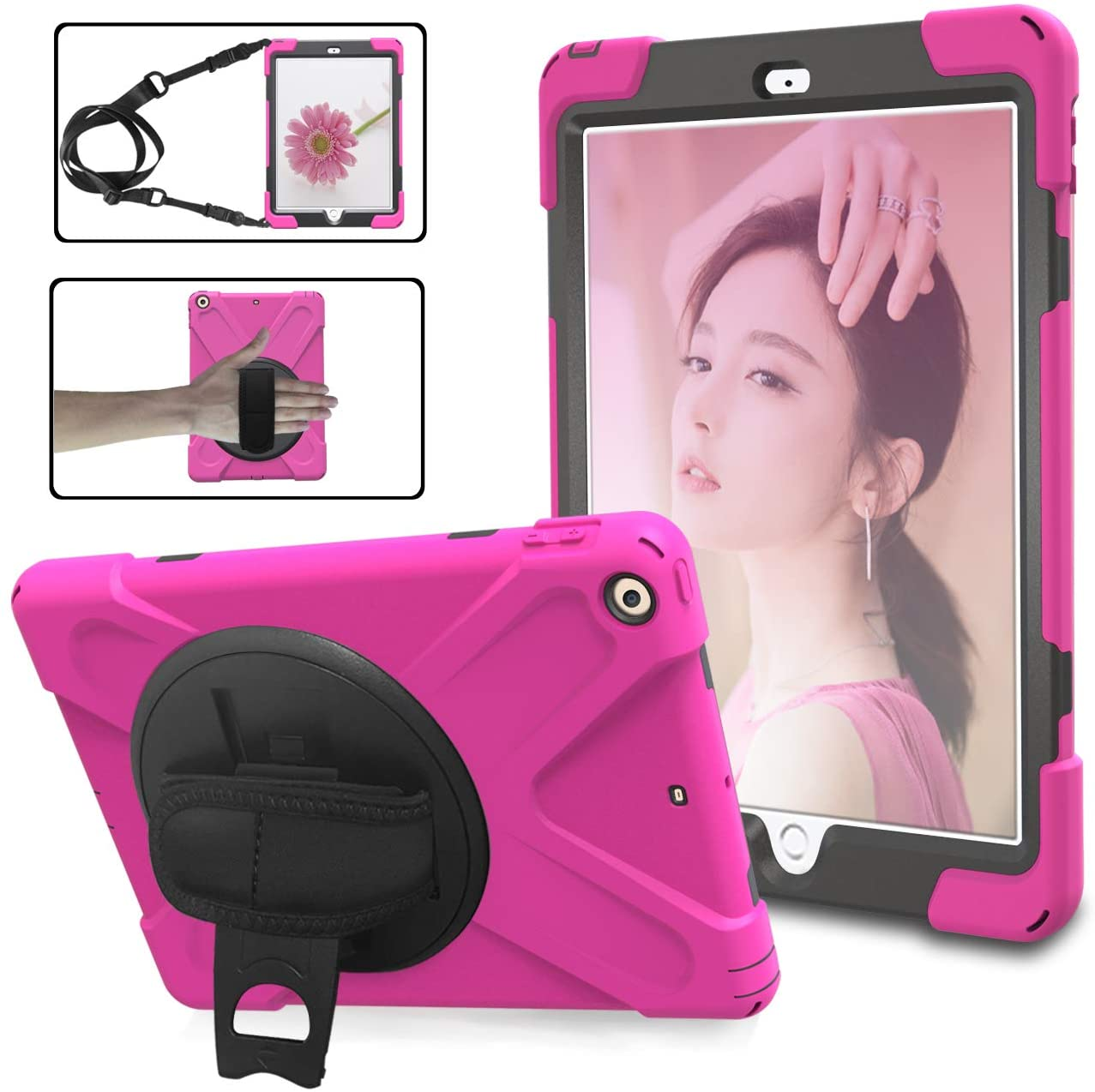 JIJIAO Pirate Series Three-in-one Anti-Drop Shell, dustproof, Equipped with 360-degree Rotating Multi-Function Handle, Hand Strap Shoulder Strap, Suitable for New iPad9.7 2017/2018 (Rose RED)