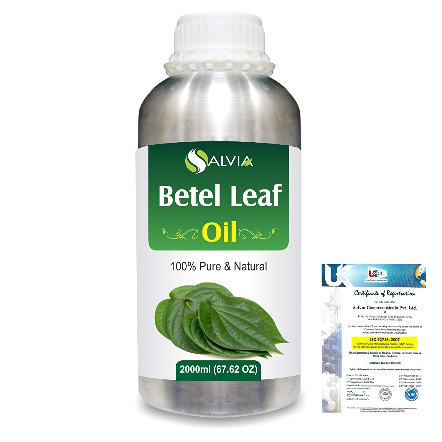Betel Leaf (Piper Betle) Pure Natural Aromatherapy Therapeutic Uncut Undiluted Essential Oil 2000ml/67.6 fl. oz. Express Shipping