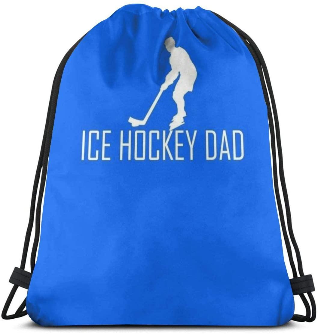 Backpack Drawstring Bags Cinch Sack String Bag Hockey Blue Background Sport Sackpack For Beach Sport Gym Travel Yoga Camping Shopping School Hiking Men Women
