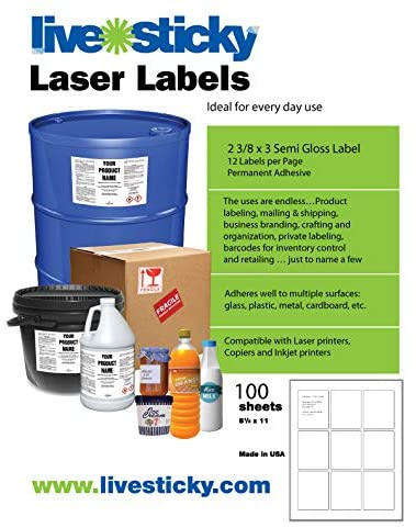 2 3/8 x 3 Semi Gloss Labels
