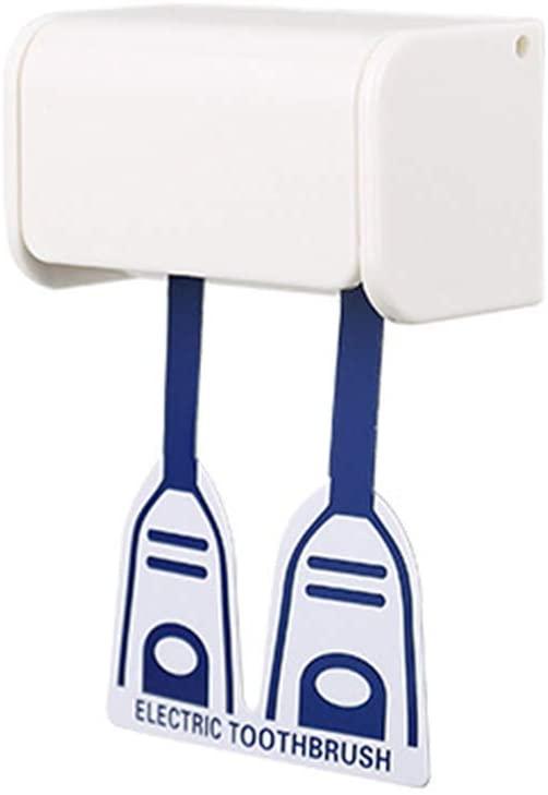 Cabilock Toothbrush Holder 2PCS Wall Mount Anti-Dust 2-Head Electric Toothbrush Holder Self-Stick Holder Bathroom Organizer Storage Rack (White)