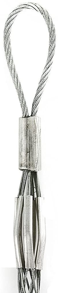 Leviton L8517 Flexible Rope Eye, Closed Mesh, Single Weave, Light Duty, Pulling Wire Mesh Grip 1.75, 1.99 Cable Diameter, Short Length