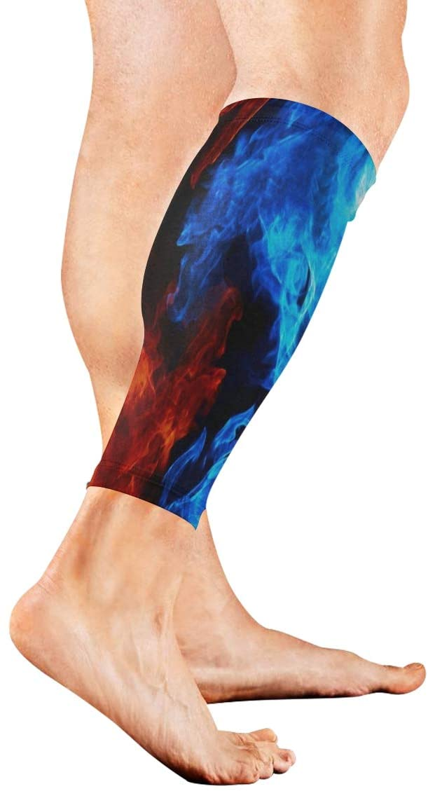 SLHFPX Leg Sleeve Red and Blue Flames Compression Socks Support Non Slip Calf Sleeves for Yoga, Running, Shin Splint, Calf Pain Relief, Runners, Medical, Air Travel, Nursing, Cycling 1Pair