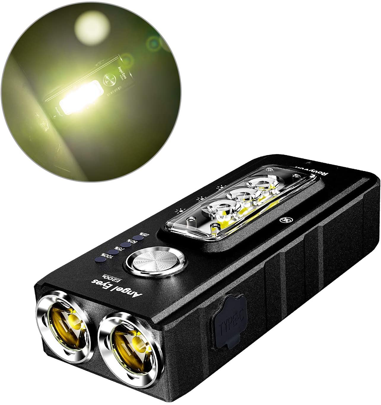 RovyVon E200S EDC Flashlight Rechargeable, 1650 lumens, Type-C Fast Charge, LED Keychain Flashlight