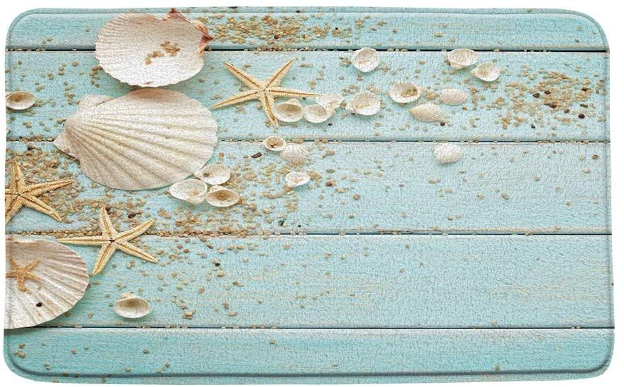 Microfiber Memory Foam,Beach Sand Shells on Mint Wooden Hawaii Coastal Theme,Soft Bathroom Living Room Bedroom Mat/Bath Rugs-20x 31 Inch/50x 80cm,Mint