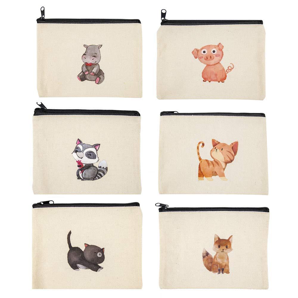 Cute Multipurpose Canvas Zipper Pouch Canvas Makeup Bags Canvas Pencil Case Cosmetic Bags Canvas Pouch with Zipper Makeup Pouches Canvas Zipper Bag Makeup Bags Bulk 6 Pack