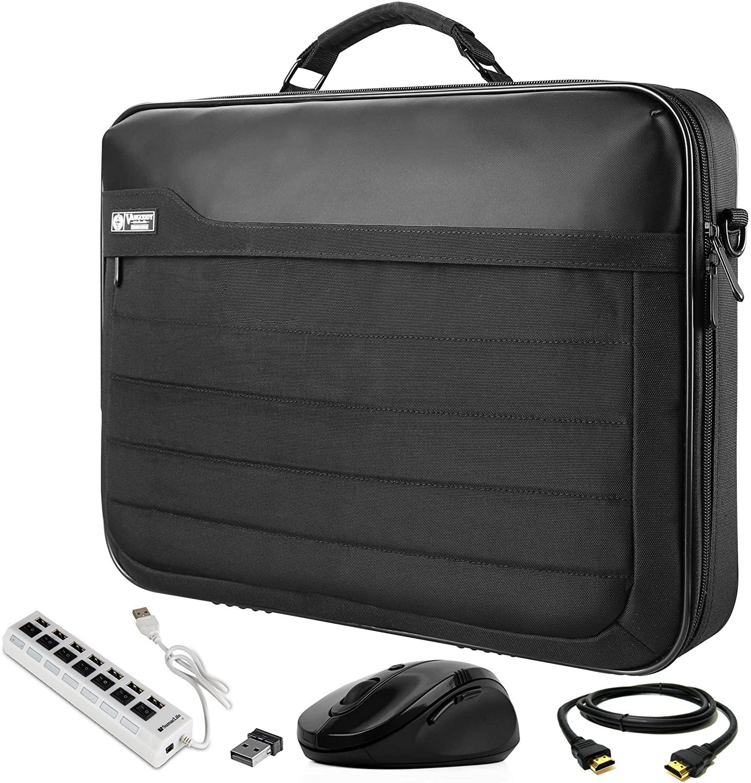 VanGoddy Laptop Briefcase 17.3 inch with HDMI Cable, Mouse, and USB Hub Fit for Lenovo G70-70 G70-80, IdeaPad 110 300 320 330 L340 700 Y700 Y900, Legion Y920 Y730 Y740, ThinkPad P70 P71 P72 P73, Z70