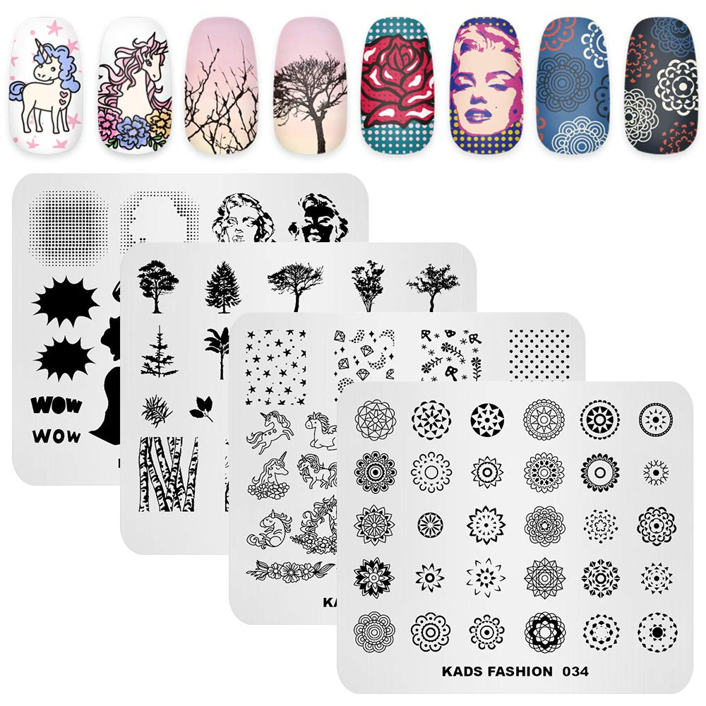 KADS Nail Stamping Plate Fashion Nail Art Stamp Template DIY Image Template Manicure Stamping Plate Stencil Tools (4 Plates + 1 Stamper)