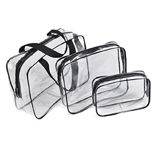 Transparent Multi-functional Portable Waterproof PVC Clear Cosmetic Makeup Bag (3pcs, black)