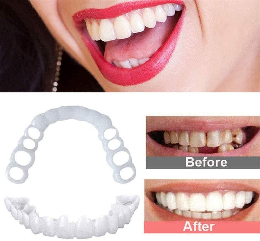 Upper Teeth Dentures Perfect Smile Teeth Veneers Cosmetic Teeth Comfort Fit Smile Veneer for Man Woman, Make White Tooth Beautiful Neat