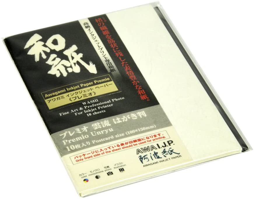 Awagami Premio Unryu Inkjet Postcards, 165gsm, 3.9x5.7, 10 Sheets