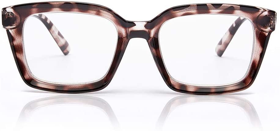 JiSoo Oversized Reading Glasses for Women 3.5 Stylish Retro Designer Readers Large Frames with Spring Hinge, 3.5 Demi