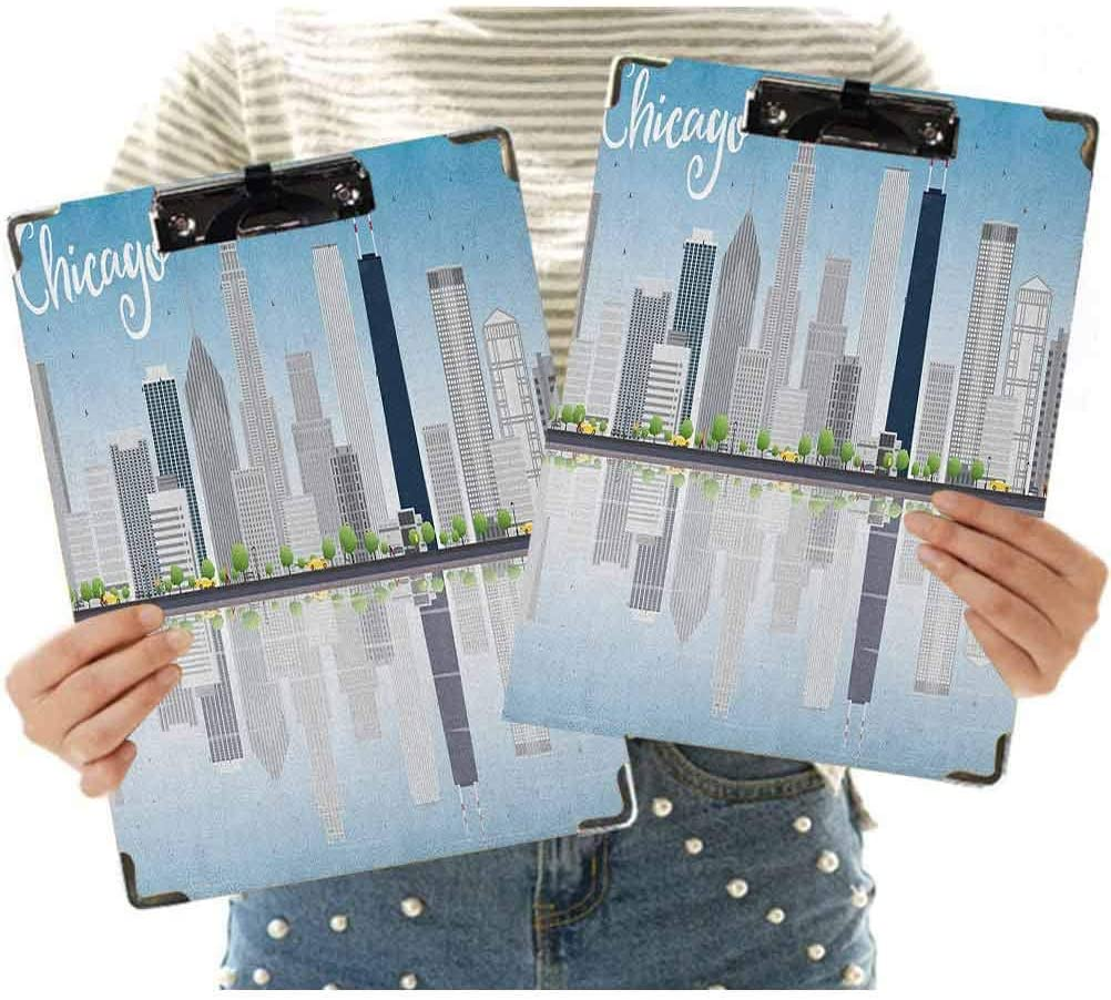 2 Pcs Letter Size Clipboard Low Profile Clip Hardboard,Skyscrapers Lake Michigan Illinois Classic American Scenery Street Office Clipboards for Home, Office, and Business Use