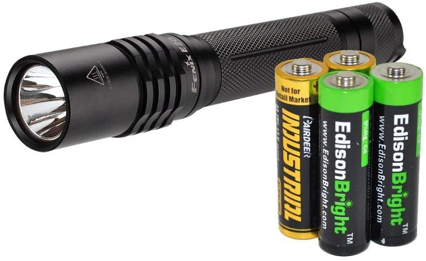 Fenix E20 2015 265 Lumen XP-E2 LED Tactical Flashlight with Two EdisonBright AA Alkaline Batteries
