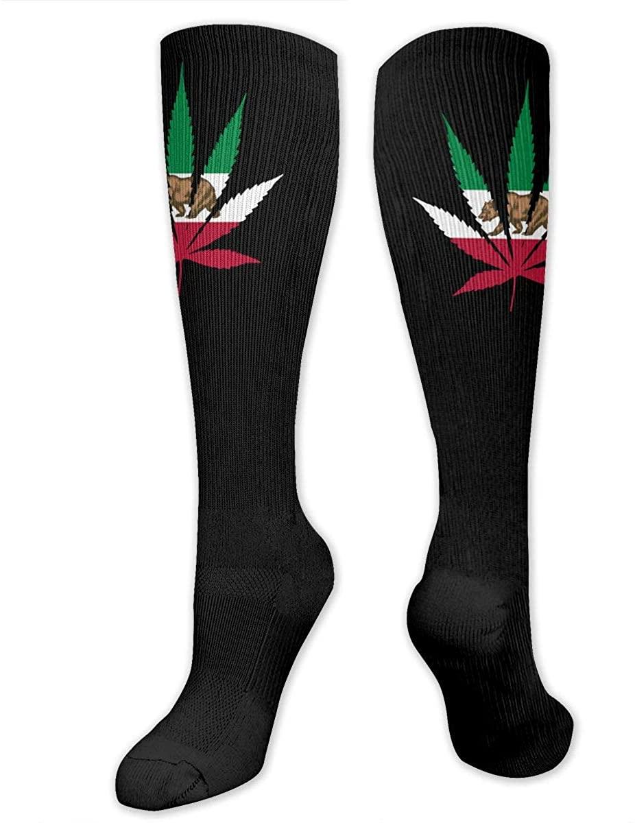 California Bear Flag Weed Athletic Socks Thigh Stockings Over Knee Leg High Socks