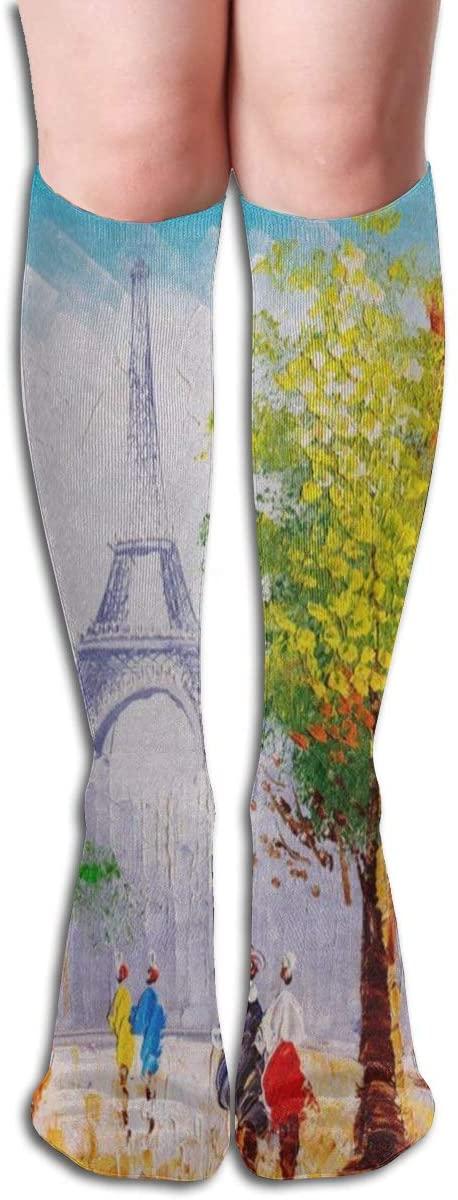 Socks Oil Painting Paris Street Eiffel Tower Stylish Womens Stocking Accessory Sock Clearance