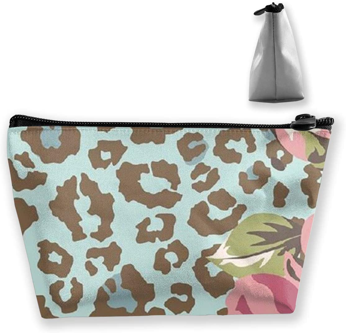 Trapezoidal Storage Bag Leopard Print Double Print Handbag Coin Purse Cosmetic Pouch Wallet Pencil Holder