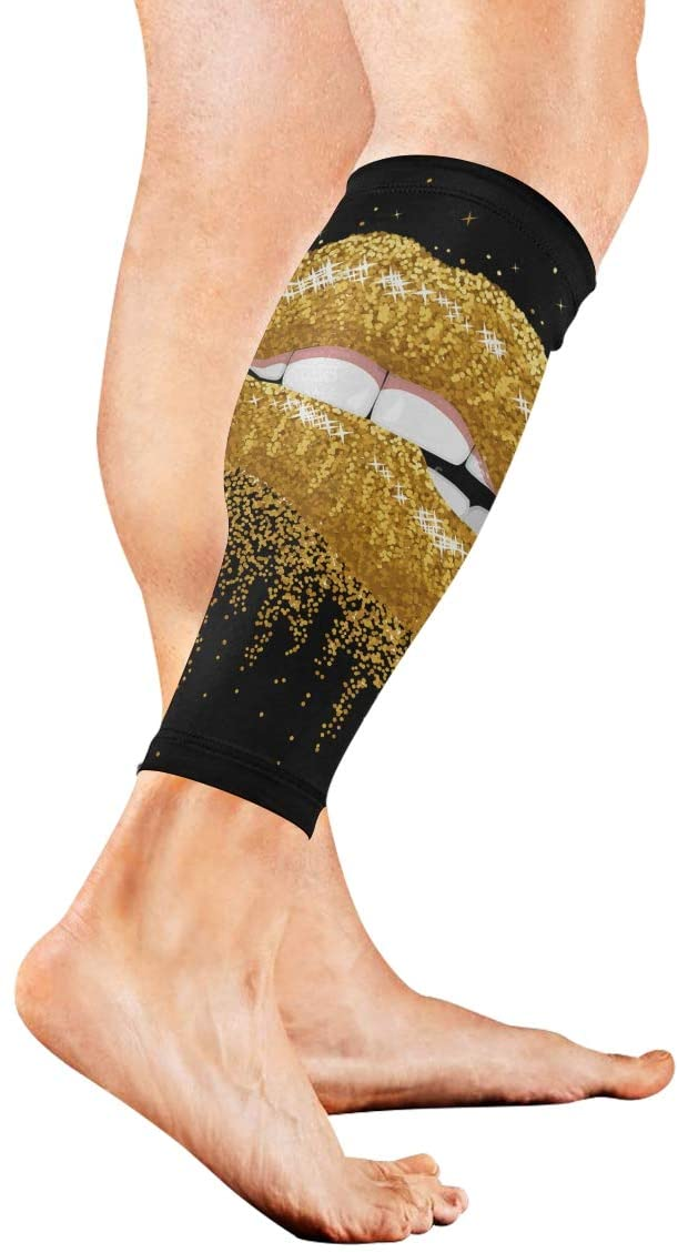 SLHFPX Leg Sleeve Golden Lip Compression Socks Support Non Slip Calf Sleeves for Yoga, Running, Shin Splint, Calf Pain Relief, Runners, Medical, Air Travel, Nursing, Cycling 1Pair