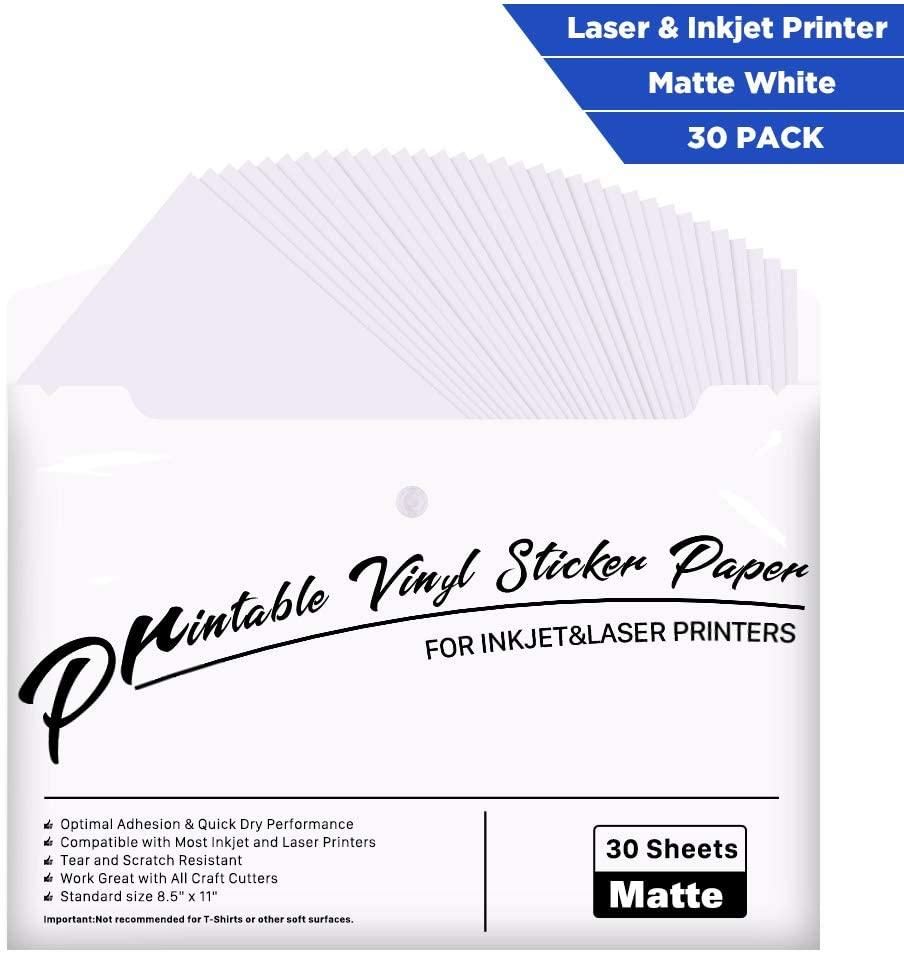 Printable Vinyl for Inkjet Printer - 30 Pack Printable Vinyl Sticker Paper Matte White - Standard Size 8.5