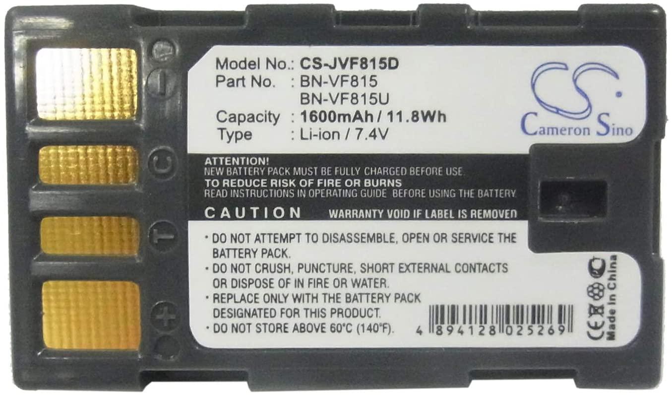 Cameron Sino Standard 7.4V/1600mA Replacement Battery for JVC GZ-MG630RAG, GZ-MG630REK, GZ-MG630RUS, GZ-MG630S, GZ-MG630SAA, GZ-MG630SAH, GZ-MG630SEK, GZ-MG630SUS, GZ-MG630US, GZ-MG645, GZ-MG645BEK