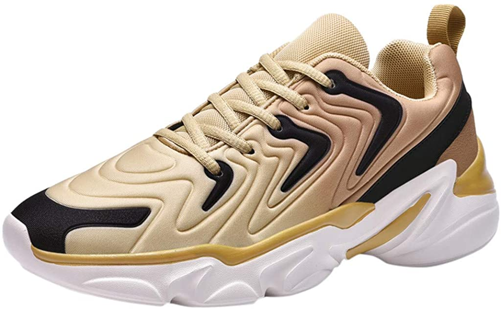 Mens Running Shoes Fashion Breathable Men Sneakers Mesh Soft Sole Casual Athletic Shoes Gold