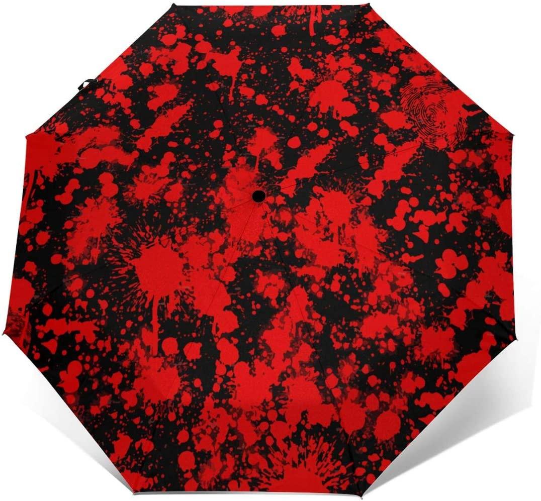 Blood Pattern Red Ink Windproof Automatic Folding Umbrella Tri-fold Umbrella