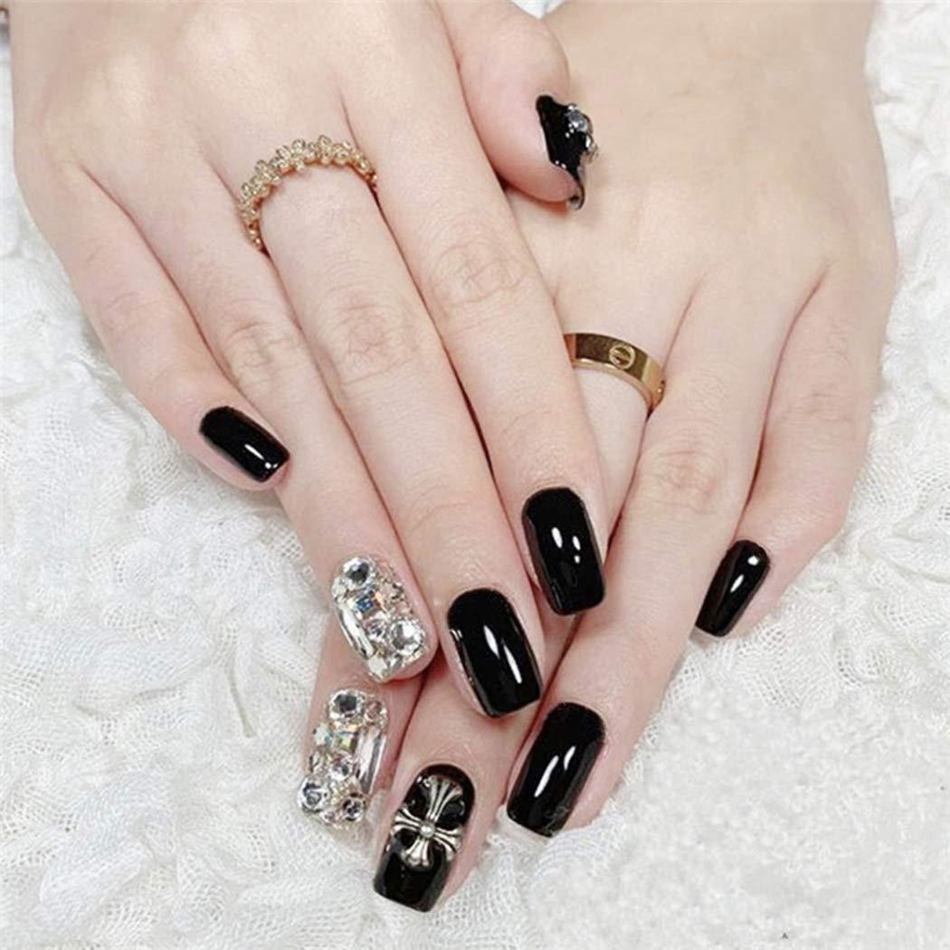 Yalice 24Pcs Crystal False Nails Black Full Cover Short Square Fake Nails Glitter Wedding Party Nail for Women and Girls