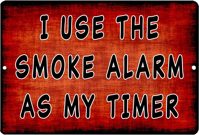 Rogue River Tactical Funny Sarcastic Kitchen Metal Tin Sign Wall Home Decor Bar Smoke Alarm Timer Cook Gift