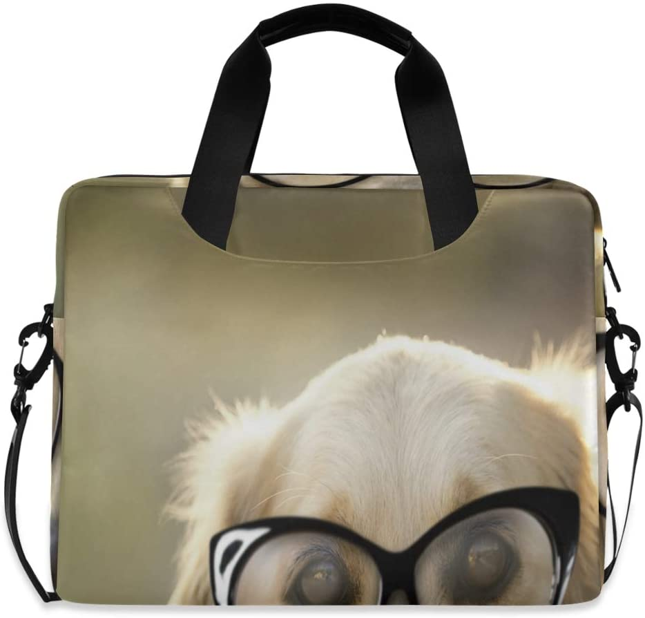 Laptop Bag, Retriever Dog with Glasses Laptop Briefcase Bag, 16 Inch Slim Laptop Backpack Laptop Case