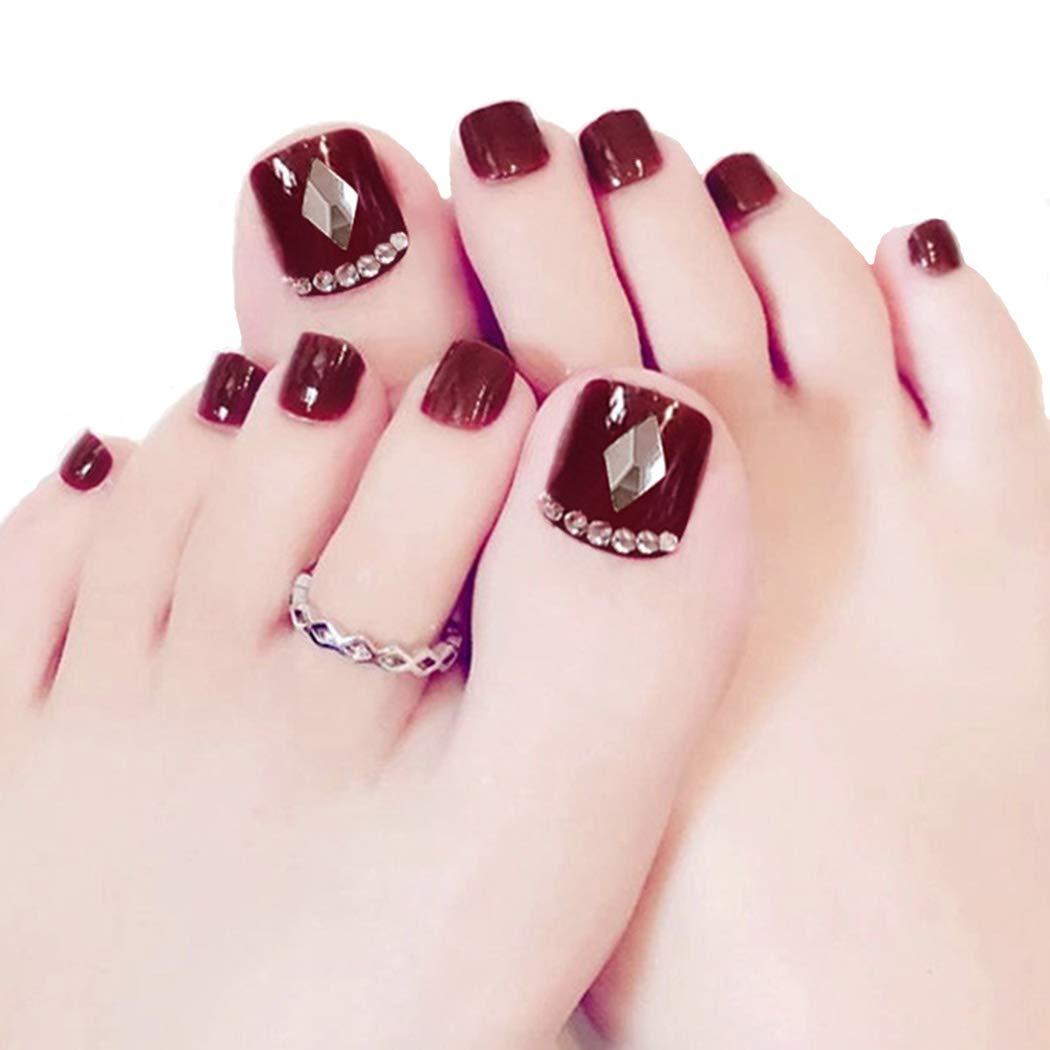 ZRIUM False Nail for Toe Bling Rhinstones Red Bridal Fake Nail for Toes Full Cover Nail Tips Foot Nails(24PCS)