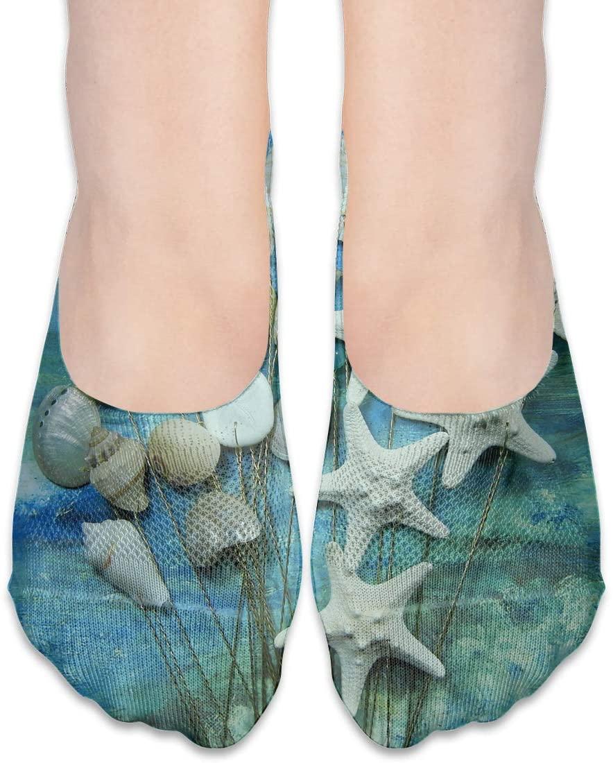No Show Socks Seashell and Starfish Stems Designer Womens Low Cut Sock Short Invisible Socks for Girl