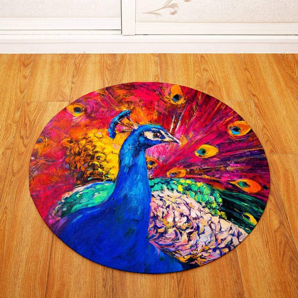 Modern Round Area Rugs, Bohemian Style Indoor Floor Mat Carpet Creative for Bedroom Living Room Kitchen and More-F-80cm(31.5inch)