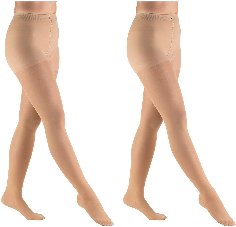 Truform Compression 30-40 mmHg Sheer Pantyhose Beige, Large, 2 Count