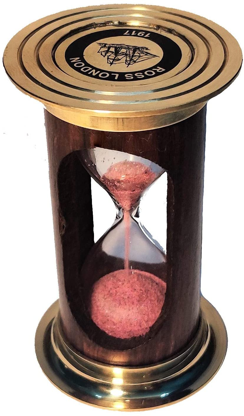 Castle Instruments Beautiful Piece of 5 Inches Brass and Wood Sand Timer with A Wooden Box