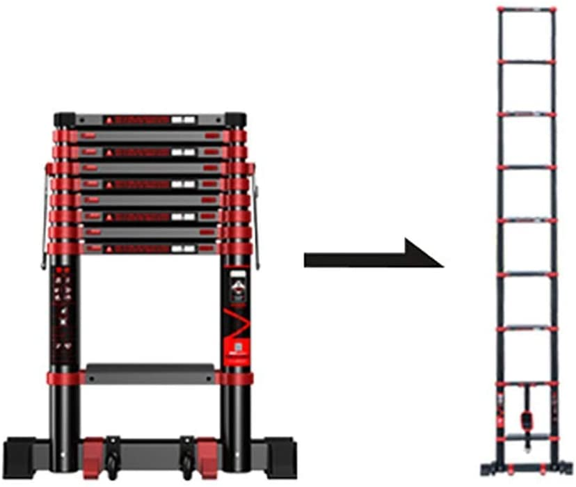KFDQ Telescopic Ladders,Portable Safety Telescoping Ladders Ascent with Wheels, Foldable Heavy Duty Extension Straight Ladders, 330Lbs Capacity (Size : 3.9M/153.5Ft)