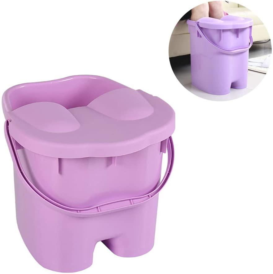 Detachable with Lid Foot Massager Heightening Thicken Foot Bath Barrel Foot Bucket Foot Tub Plastic Foot Washing Bucket Household,Purple