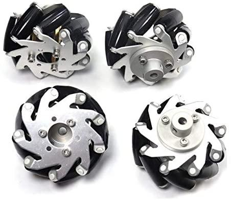 Parts & Accessories Aluminum Mecanum Wheel Omnidirectional Wheel Diameter 65MM 4PCS 4WD Intelligent Trolley Robot Accessories - (Color: White, US)