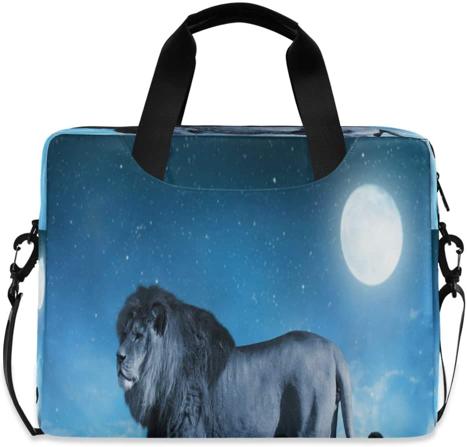 Lion The Savannah in Background Night Sky with Moon Laptop Bag Protective Case Computer Messenger Briefcase Women Men 16