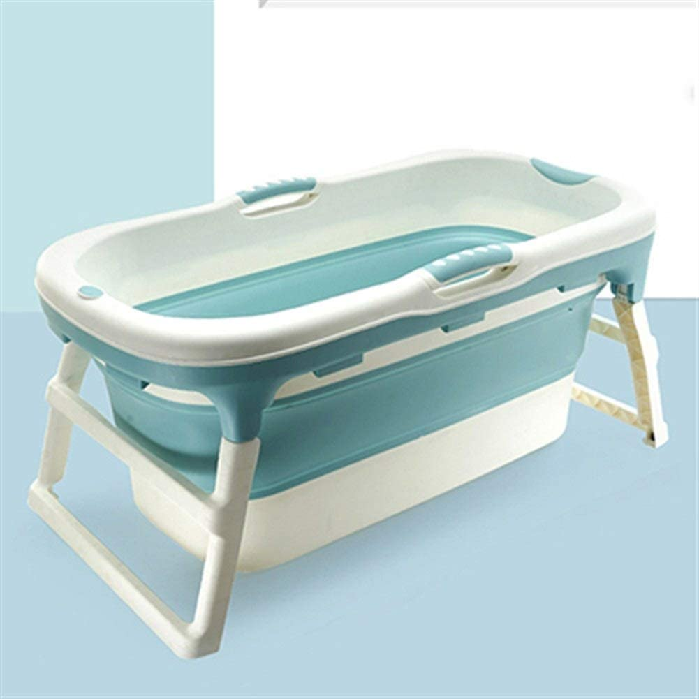 XINHUANG Folding Bathtub Adult Two Children Bath Bucket Large Bath Tub Household Adult Multifunctional Stable Slip Bathtub (Color : Blue, Size : Without Cover)
