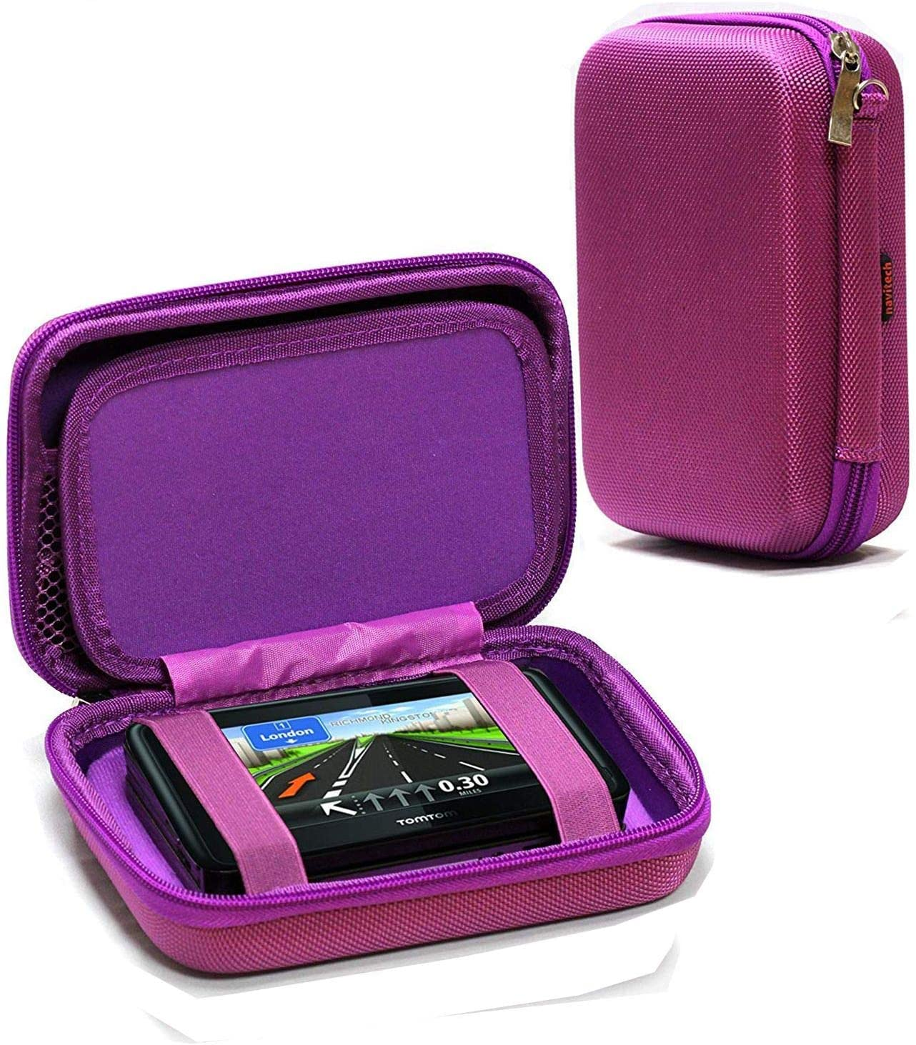 Navitech Purple Hard Carry Case Compatible with The Tomtom Car Sat Nav GO Essential,
