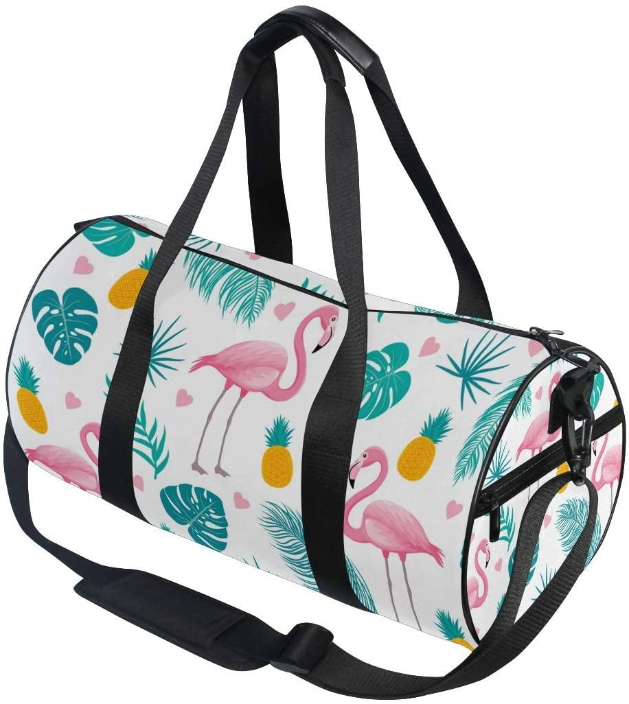 A Seed Sports Duffel Bag Tropical Flamingo Pineapple Floral Flowers Gym Travel Bag