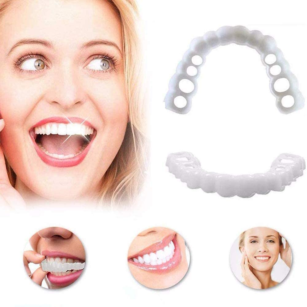 BTASS 5 Pairs Professional Cosmetic Teeth Cosmetic Teeth Veneer Denture Snap on Smile Instant and Confident in Minutes Whitening Stained Missing and Chapped Teeth No Pain No Drilling