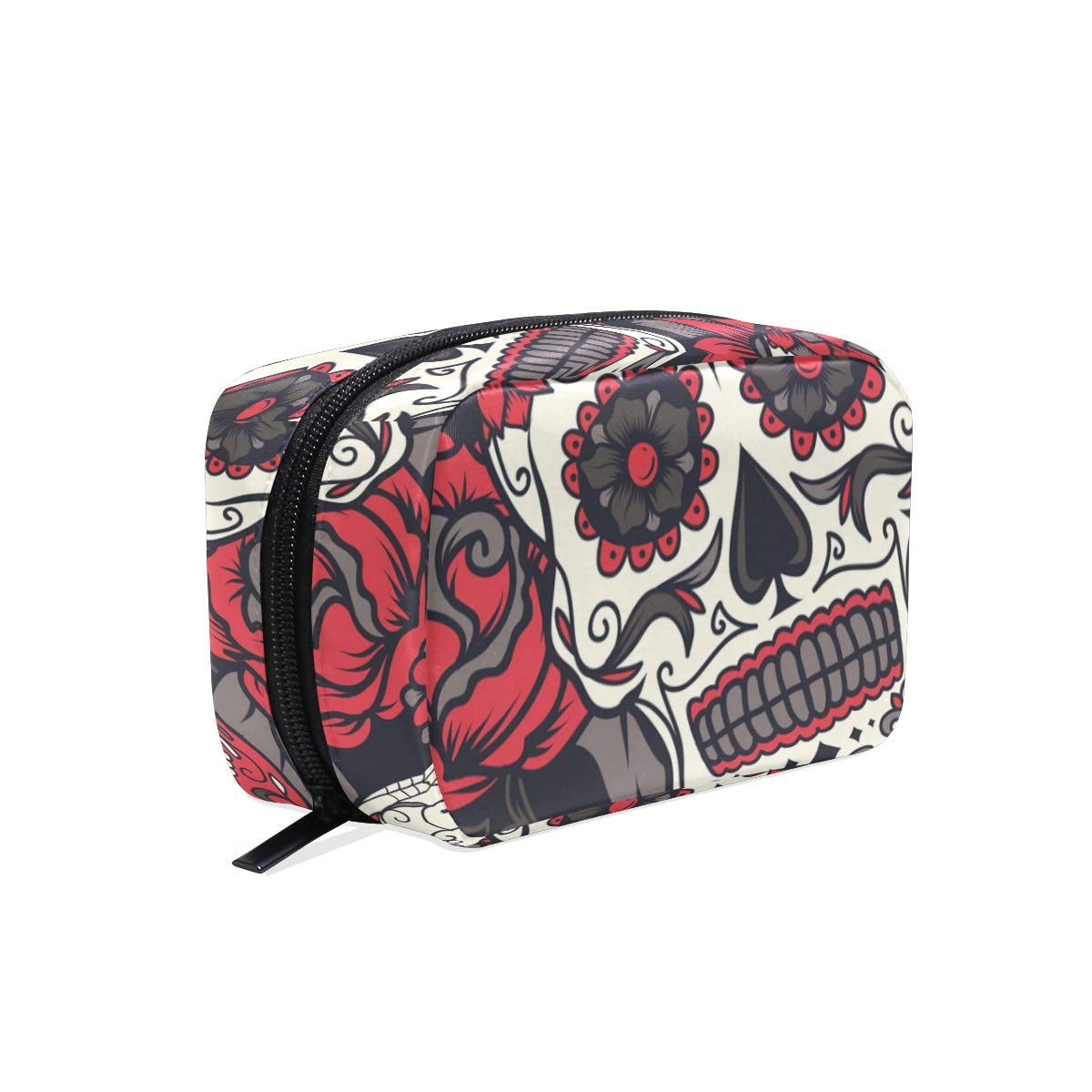 Cosmetic Makeup Bag Pouch Flower Rose Floral Skull Clutch