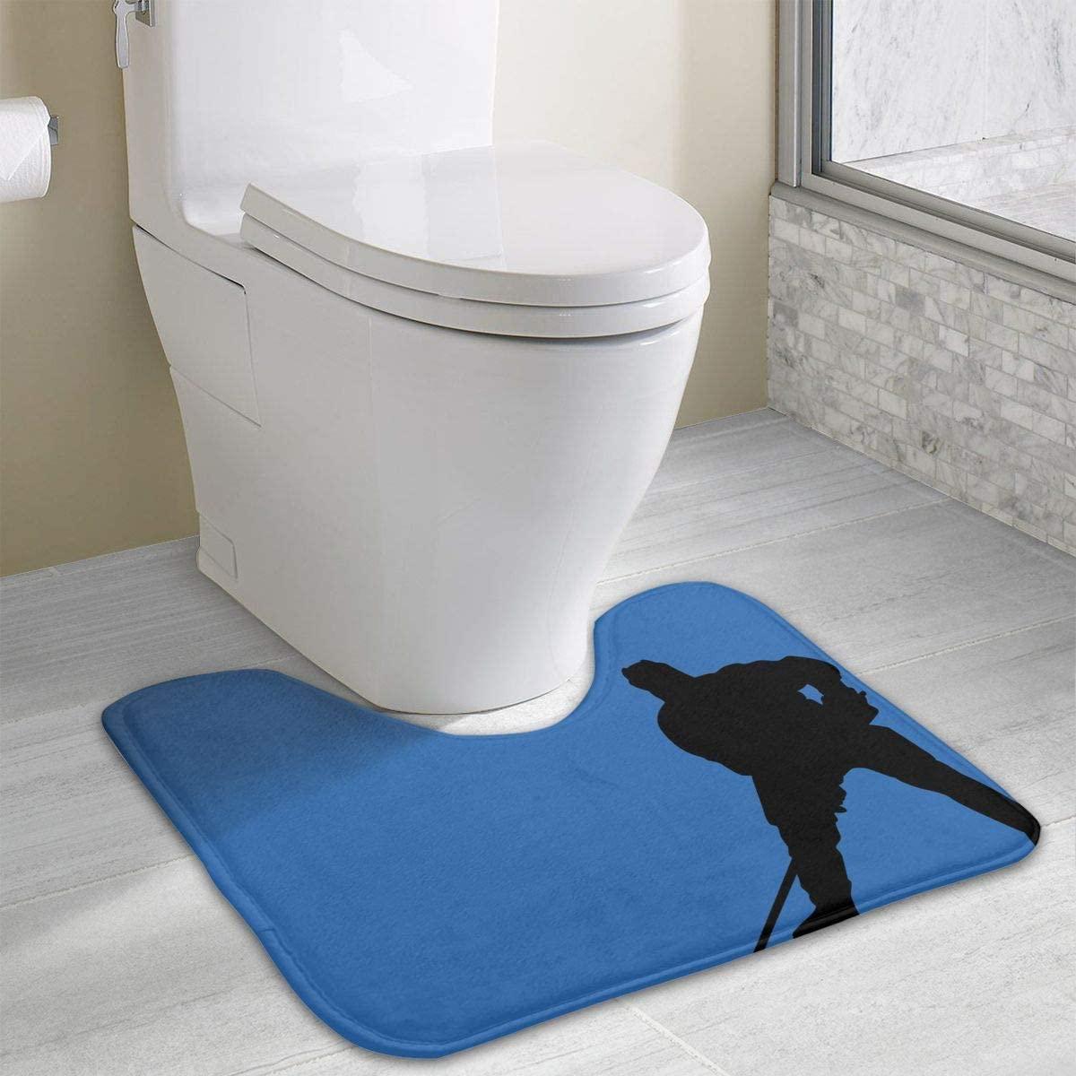 Bathroom Rug, Hockey Player U-Shaped Non Slip Absorbent Toilet Bath Floor Contour Doormat Shower Mat Carpet 19.3 X 15.7 Inch