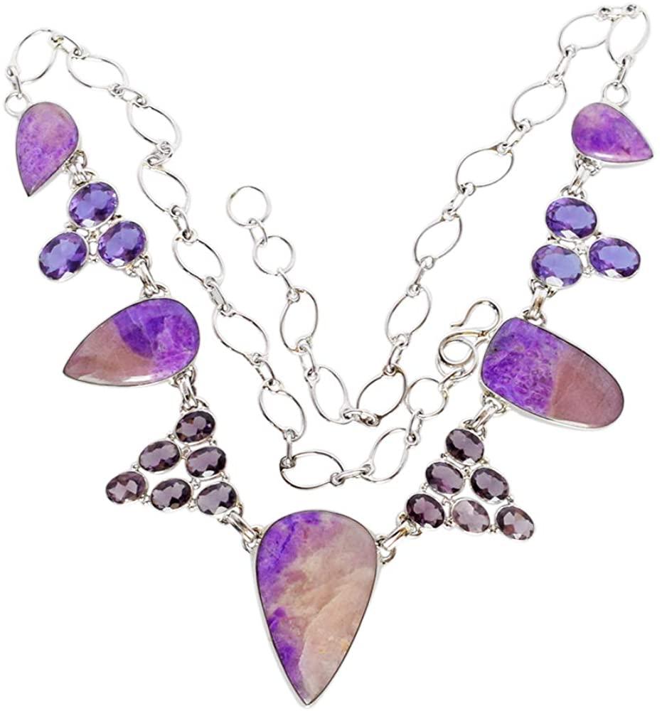 Fashionable Natural Purple Sugilite Gemstone Necklace, Amethyst, Handmade Jewellery, 925 Solid Sterling Silver FSJ-3365